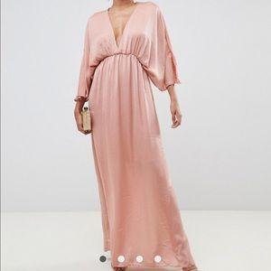 ASOS DESIGN Kimono Maxi Dress in Satin- Dusty Rose